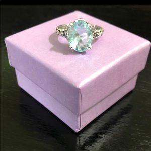 Jewelry - Size 6 925 Stamped SS & Aquamarine Ring
